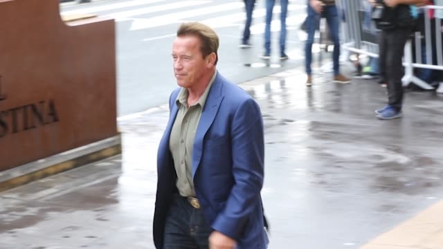 US actor producer and former governor of California Arnold Schwarzenegger arrives at the Hotel Maria Cristina to promote the film 'Wonders of the Sea...