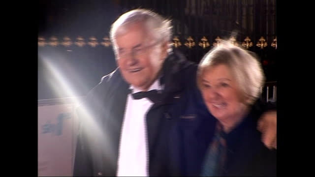 actor richard briers dies aged 79; lib / ext / night richard briers and wife ann davies arriving at variety club showbiz awards - richard briers stock videos & royalty-free footage