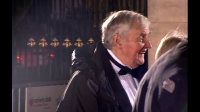 actor richard briers dies aged 79; lib / richard briers and his wife ann davies posing on red carpet at royal variety club showbiz awards - richard briers stock videos & royalty-free footage