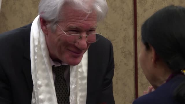 us actor richard gere and us house speaker nancy pelosi attend a memorial event at the capitol for tibetan activist lodi gyari a former dalai lama... - nancy pelosi stock videos and b-roll footage