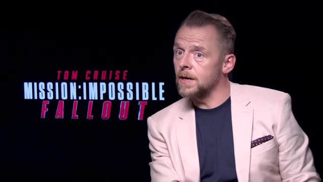 actor simon pegg on playing benji dunn in new film mission impossible fallout and what it's like working with tom cruise when he does his own stunts - tom cruise bildbanksvideor och videomaterial från bakom kulisserna