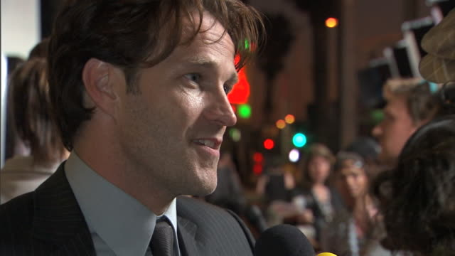 EVENING HD Actor Stephen Moyer standing on crowded red carpet outside Cinerama Dome talking w/ press