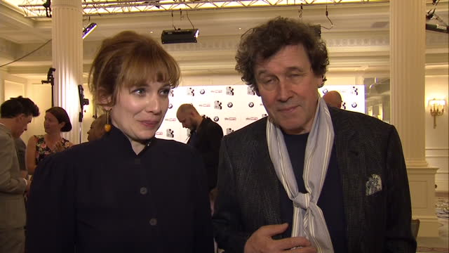 Actor Stephen Rea and Actress Katherine Parkinson speaking about the win for 'An Honourable Woman' The Sky Arts Awards Honouring Best of Theatre Film...