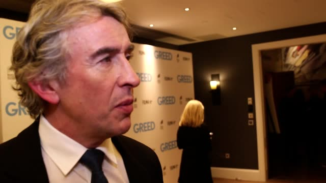 "actor steve coogan is interviewed on the red carpet ahead of the release of his new film, greed. the actor said he ""totally"" understands why the duke... - steve coogan stock videos & royalty-free footage"