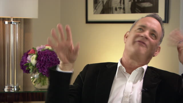 actor tom hanks joking that he couldn't become a politician because he'd have to answer the phone and that politics is hollywood for ugly people - hollywood california stock videos & royalty-free footage