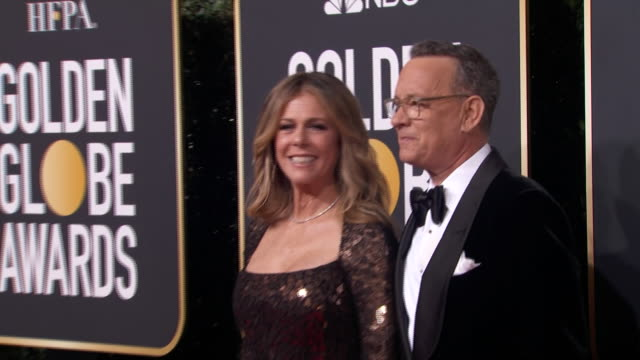 actor tom hanks poses with rita wilson on the red carpet at the 2020 golden globe awards. - rita wilson actress stock videos & royalty-free footage