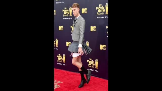 Actor Tommy Dorfman attends the 2018 MTV Movie And TV Awards at Barker Hangar on June 16 2018 in Santa Monica California