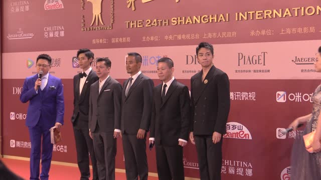 actor wei chen, producer wang zhonglei, actor zhang hanyu, director yang feng and actor yu haoming attend opening ceremony of the 24th shanghai... - celeb stock videos & royalty-free footage