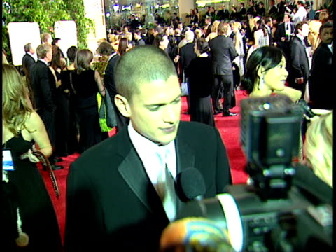actor wentworth miller standing on crowded red carpet at beverly hilton hotel talking to press, reporter. - beverly hilton hotel bildbanksvideor och videomaterial från bakom kulisserna