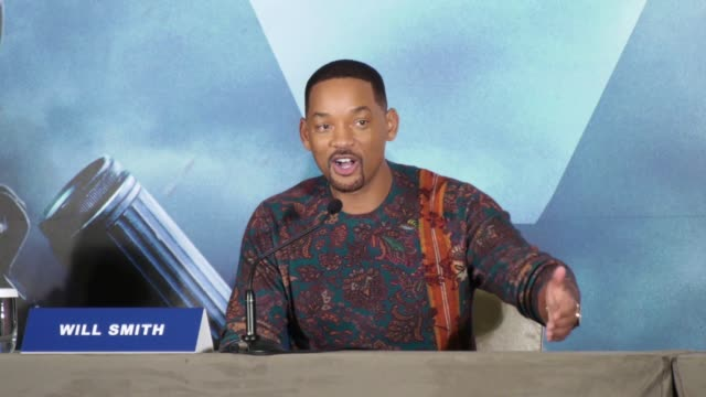 actor will smith attends 'gemini man' press conference on october 21, 2019 in taipei, taiwan of china. - 俳優 ウィル・スミス点の映像素材/bロール