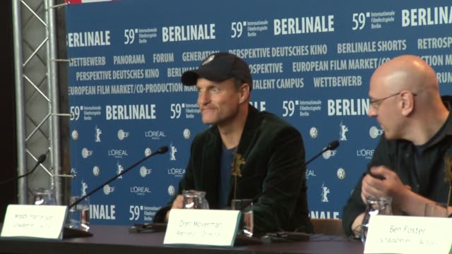 actor woody harrelson broll at the 59th berlin film festival the messenger press conference at berlin - ben foster actor stock videos and b-roll footage