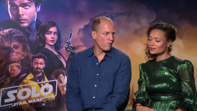 Actor Woody Harrelson who plays Tobias Beckett in the new film Solo A Star Wars Story and actress Thandie Newton who is set to play Val discuss their...
