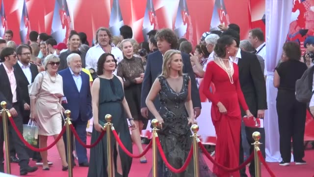 Actors Actresses and Directors are seen walking on the red carpet during the opening the 38th Moscow International Film Festival in Moscow Russia on...