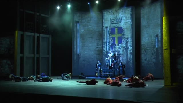 actors and actresses perform on the stage during the preview of romeo and juliet in istanbul turkey on february 20 2015 an italian cast that has come... - william shakespeare stock videos & royalty-free footage