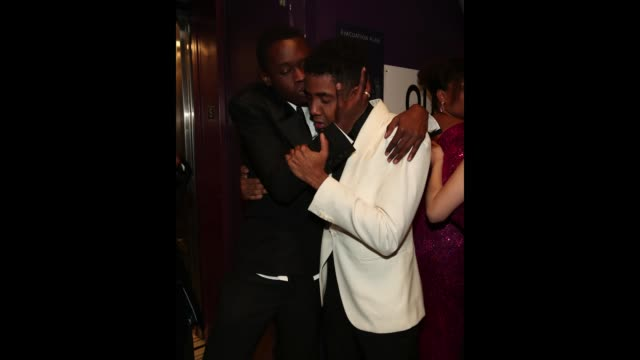 Actors Ashton Sanders and Jharrel Jerome seen backstage at the 89th Annual Academy Awards at Hollywood Highland Center on February 26 2017 in...