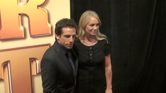 actors ben stiller and christine taylor attend the tower heist premiere at the ziegfeld theater in new york 10/24/11 - christine taylor stock videos & royalty-free footage