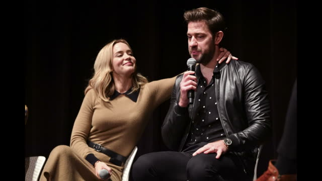 actors emily blunt and john kransinski speak onstage during the a quiet place qa at 21st scad savannah film festival on october 27 2018 in savannah... - john krasinski stock videos and b-roll footage