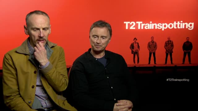 actors ewen bremner and robert carlyle interviewing about t2 trainspotting. they talk about how the new film is emotional and how they don't mind... - robert carlyle stock videos & royalty-free footage