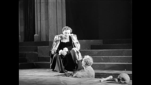 MONTAGE Actors in a theater performing a scene from Hamlet, including actor John Gielgud / United Kingdom