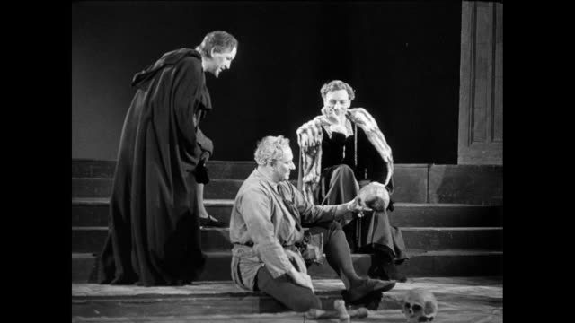 LA Actors in a theater performing Hamlet, including John Gielgud / United Kingdom