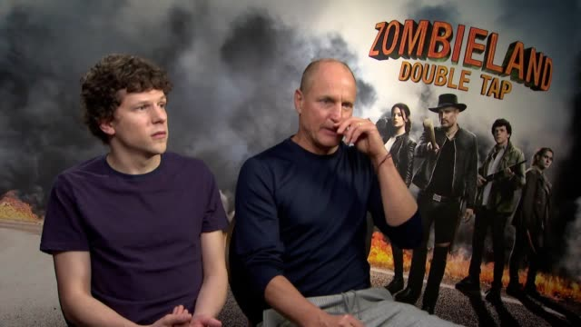 actors jesse eisenberg and woody harrelson discuss their new film zombieland double tap - woody harrelson stock videos & royalty-free footage
