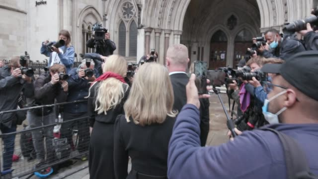 actors johnny depp and amber heard arrive at the royal courts of justice in central london depp is facing a second day of questioning in his libel... - amber heard stock videos & royalty-free footage