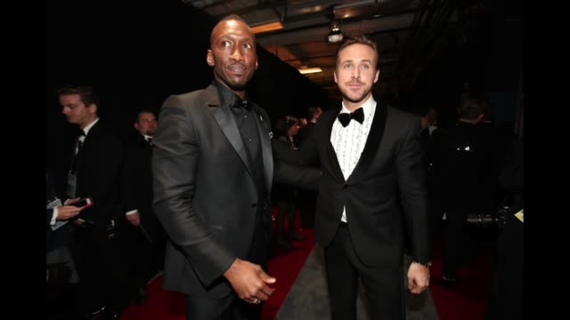 actors mahershala ali and ryan gosling seen backstage at the 89th annual academy awards at hollywood highland center on february 26 2017 in hollywood... - ryan gosling stock videos and b-roll footage