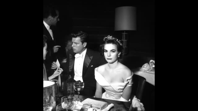 gif actors natalie wood and robert wagner attend the academy awards on march 27 1957 in los angeles california - robert wagner stock videos & royalty-free footage