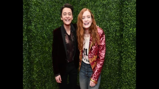Actors Noah Schnapp and Sadie Sink attend the 2018 MTV Movie And TV Awards at Barker Hangar on June 16 2018 in Santa Monica California