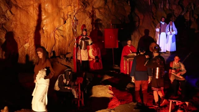 actors perform during live biblical scene in postojna cave on december 25 2018 in postojna slovenia the annual nativity scene is the biggest live... - religious illustration stock videos and b-roll footage