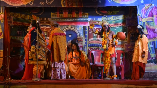 actors perform in ramlila during hindu festival - theatrical performance stock videos and b-roll footage