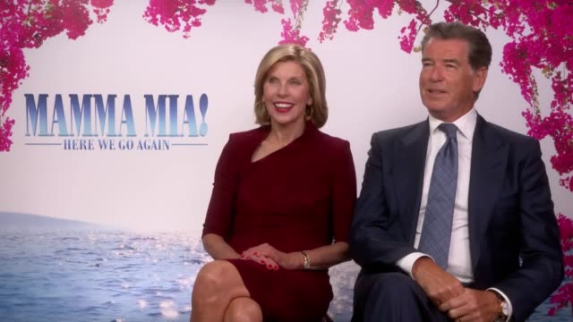 Actors Pierce Brosnan and Christine Baranski on their return to Mamma Mia in the sequel Mamma Mia Here We Go Again They discuss Julie Walters...