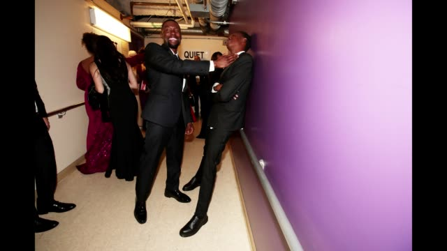 Actors Trevante Rhodes and Ashton Sanders seen backstage at the 89th Annual Academy Awards at Hollywood Highland Center on February 26 2017 in...