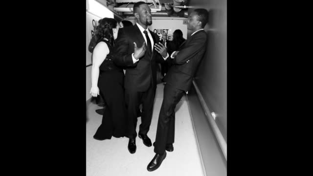 Image has been converted to black and white Actors Trevante Rhodes and Ashton Sanders seen backstage at the 89th Annual Academy Awards at Hollywood...