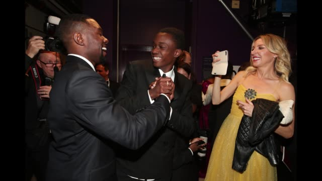 Actors Trevante Rhodes Ashton Sanders and Alex R Hibbert seen backstage at the 89th Annual Academy Awards at Hollywood Highland Center on February 26...