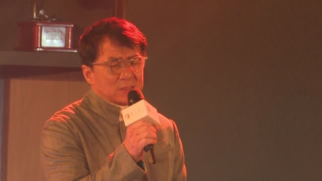 actor/singer jackie chan promotes his new album 'i am me' on december 20 2018 in beijing china - アルバムのタイトル点の映像素材/bロール