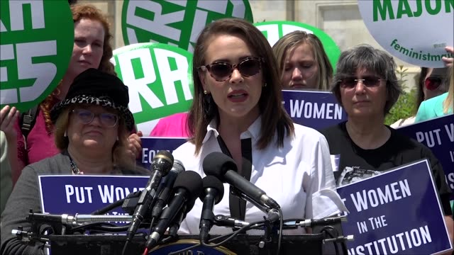 Actress Alyssa Milano says at a news conference outside the Capitol building that she was there because women were not guaranteed equal justice under...