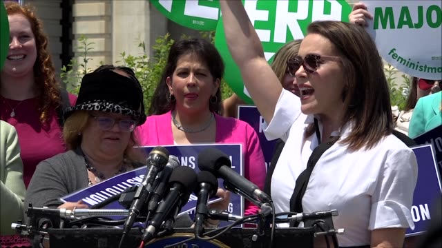Actress Alyssa Milano says at a news conference outside the Capitol building that gender equality would boost the economy by over $43 trillion that...