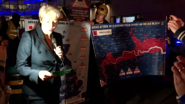 actress and climate change activist emma thompson gives a severe weather warning forecast outside the bbc broadcasting house in london. the star was... - エマ・トンプソン点の映像素材/bロール