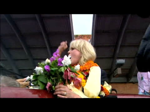actress and gurkha campaigner joanna lumley thanks crowd following warm reception at airport; 27 july 2009 - fame stock videos & royalty-free footage