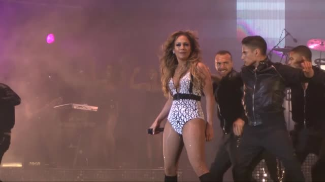 actress and singer jennifer lopez performs on the stage during the opening of the 14th edition of the mawazine international music festival in rabat... - performing arts event stock videos and b-roll footage