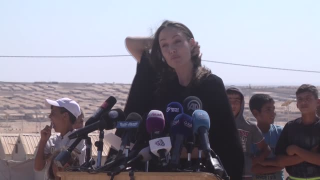 US actress and UNHCR special envoy and Goodwill Ambassador Angelina Jolie talks at a press briefing during her visit to Azraq Syrian refugee camp 90...
