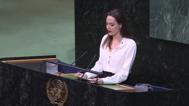Actress and UNHCR Special Envoy Angelina Jolie delivers a speech during a meeting 'United Nations Peacekeeping Ministerial Uniformed Capabilities...