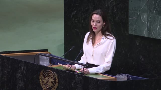 Actress and UNHCR Special Envoy Angelina Jolie delivers a speech at the 2019 UN Peacekeeping Ministerial meeting on uniformed capabilities...