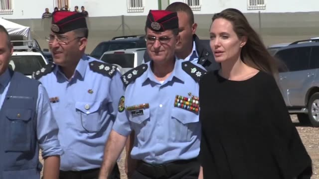 us actress and unhcr special envoy angelina jolie visited the azraq camp for syrian refugees in the north of jordan on friday - angelina jolie stock videos & royalty-free footage