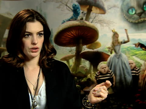 Actress Anne Hathaway who plays the white queen on the limited props on set on how lucky she was to have a real kitchen set and sword on working with...