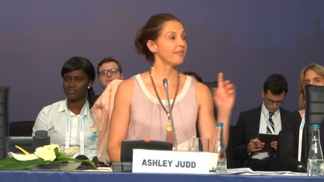 US actress Ashley Judd speaks during the opening of the Safe Birth Even Here' campaign organised by UNFPA and Benetton Group held within World...