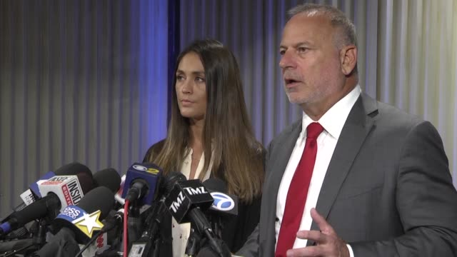 Actress Dominique Huett and a lawyer talk to the press after filing suit against The Weinstein Company alleging that Harvey Weinstein sexually...