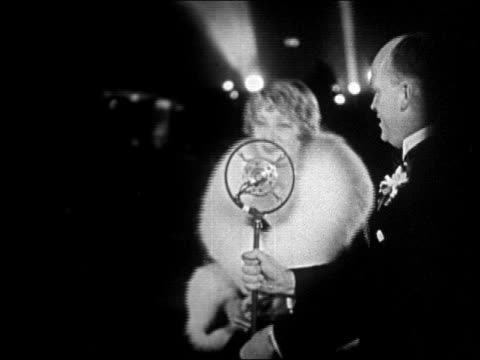 "actress dorothy mackaill talking into microphone at ""interference"" premiere / newsreel - 1928 stock videos & royalty-free footage"