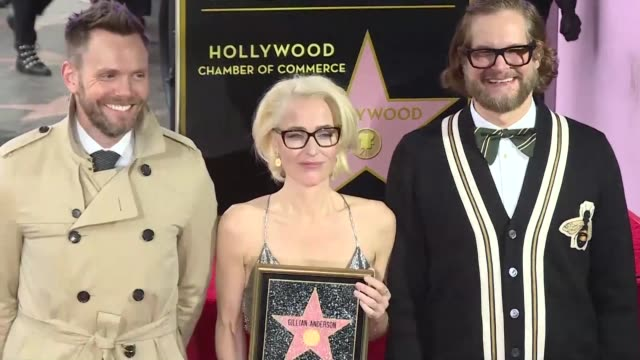 Actress Gillian Anderson best known for playing Scully of The XFiles is presented with a star on the Hollywood Walk of Fame
